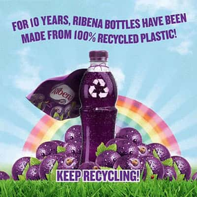 For 10 yesrs, Ribena bottles have been made from 100% recycled plastic!